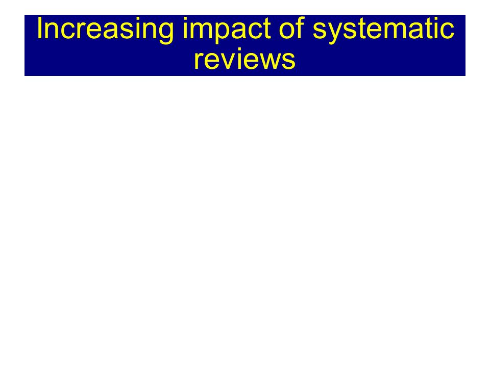 Increasing impact of systematic reviews
