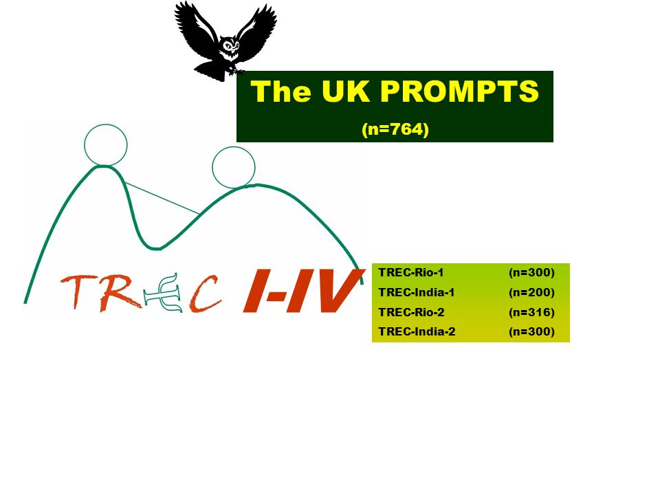 I-IV TREC-Rio-1 (n=300) TREC-India-1 (n=200) TREC-Rio-2 (n=316) TREC-India-2 (n=300) The UK PROMPTS (n=764)