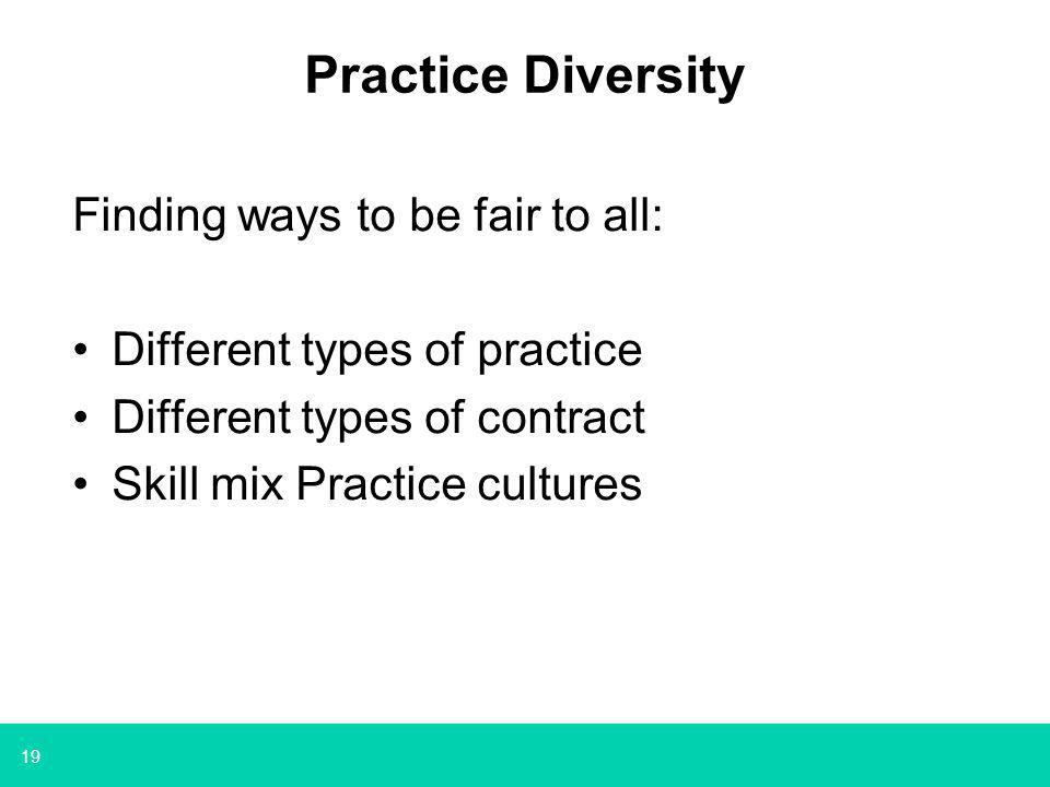 19 Practice Diversity Finding ways to be fair to all: Different types of practice Different types of contract Skill mix Practice cultures