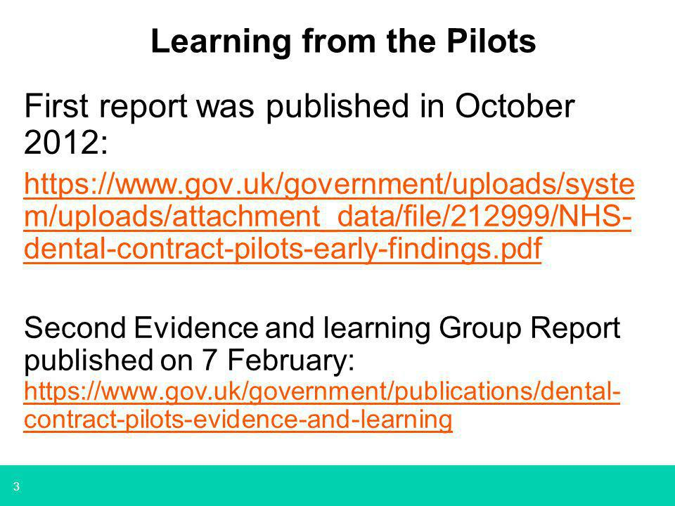 4 Focus on Prevention Demonstrated in the pilots that a primary care prevention focus is improving the OH of patients.