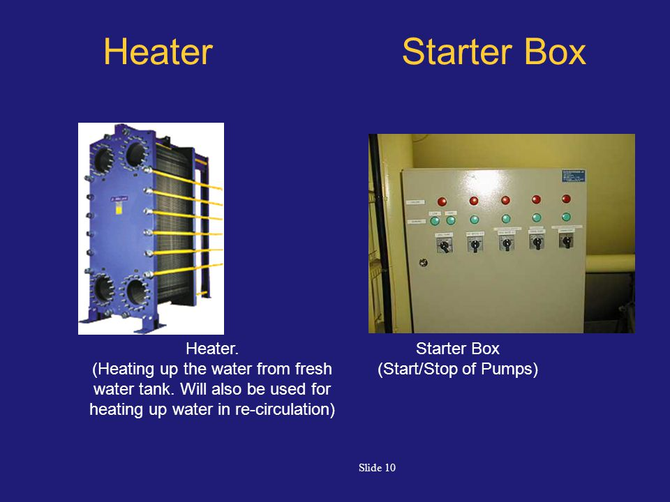 Slide 10 Heater Starter Box Heater. (Heating up the water from fresh water tank. Will also be used for heating up water in re-circulation) Starter Box