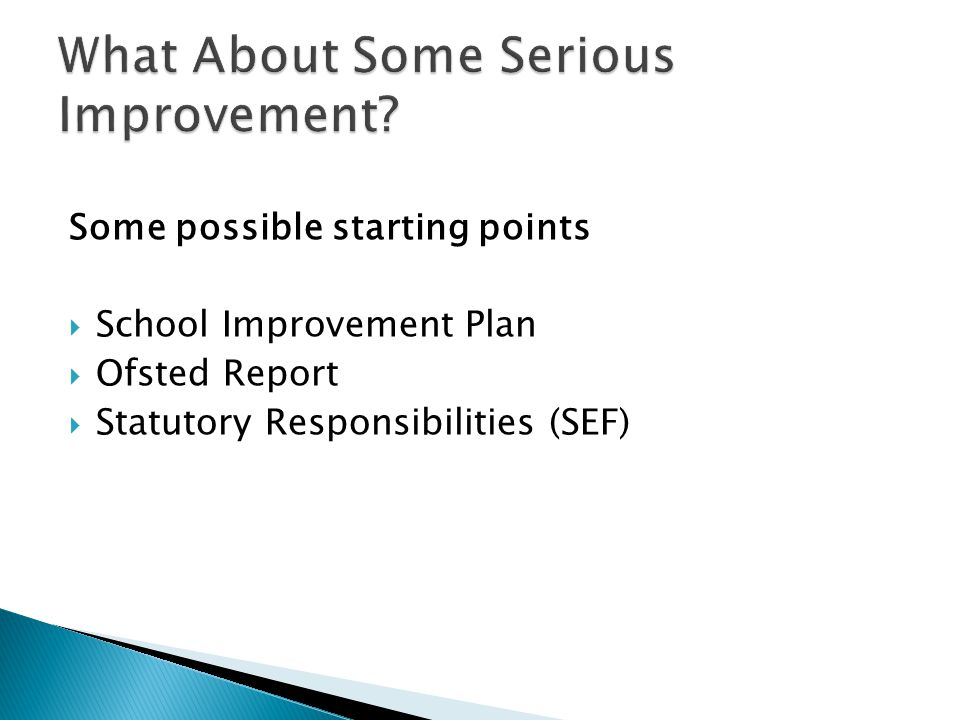 Some possible starting points  School Improvement Plan  Ofsted Report  Statutory Responsibilities (SEF)