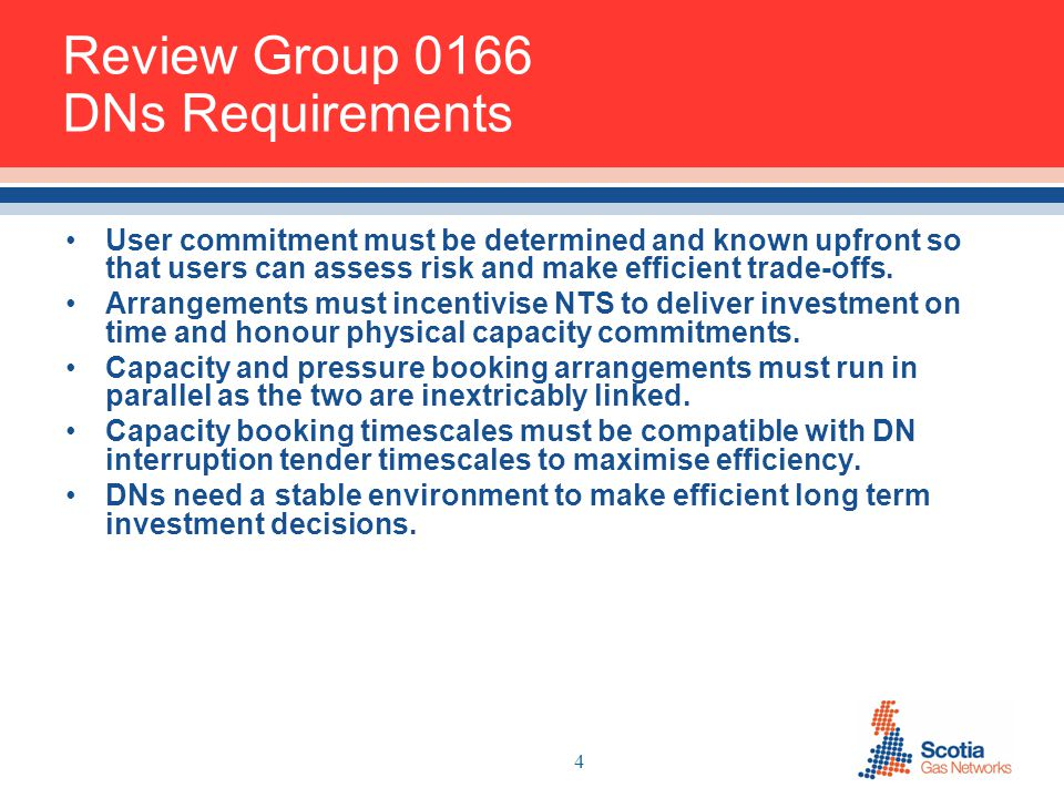 4 Review Group 0166 DNs Requirements User commitment must be determined and known upfront so that users can assess risk and make efficient trade-offs.