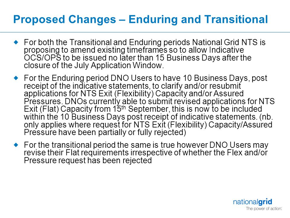 Adjustment Window 2010 under current UNC rules Example 1: Based on NG providing indicative OCS/OPS statement on last possible Date (e.g.