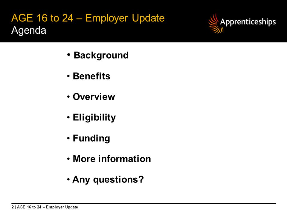 AGE 16 to 24 - Funding National Apprenticeship Service