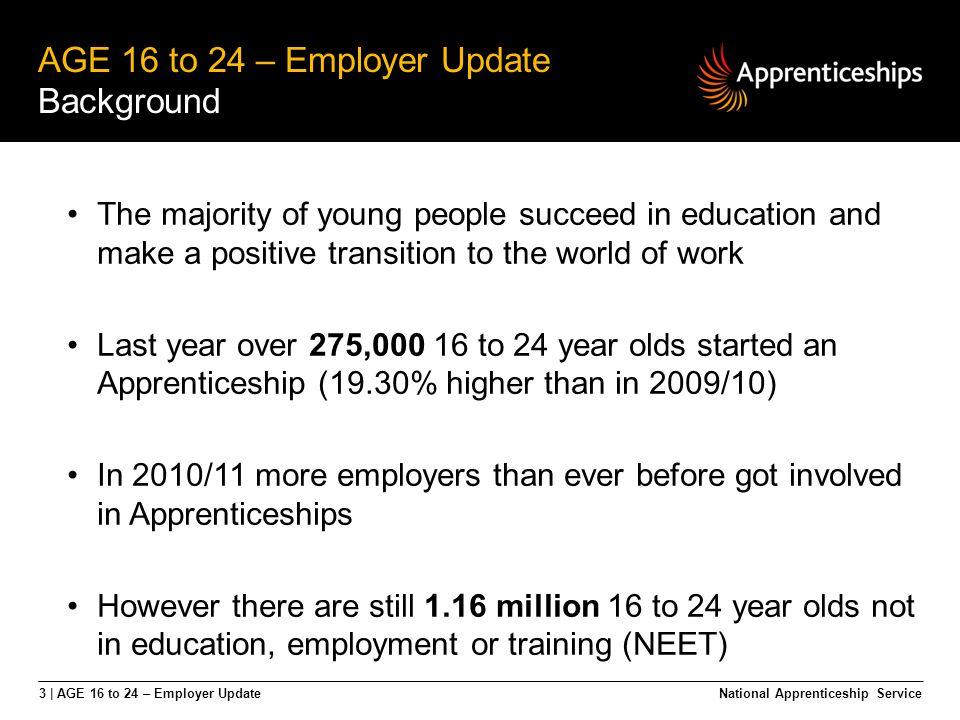 4 | AGE 16 to 24 – Employer Update AGE 16 to 24 – Employer Update Apprenticeships deliver.