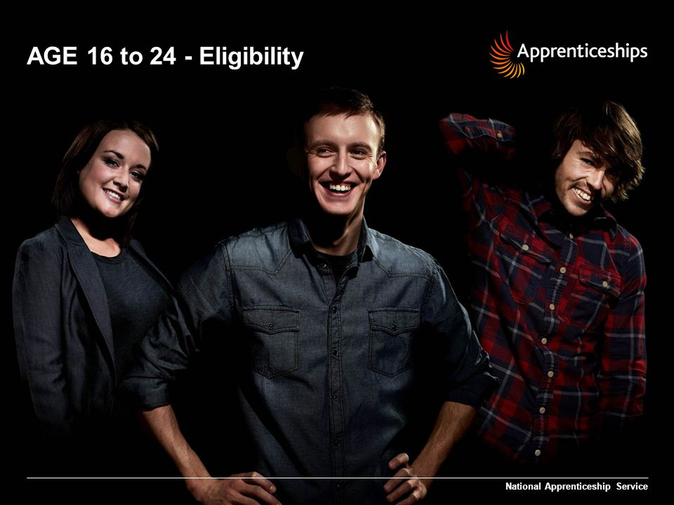 9 | AGE 16 to 24 – Employer Update AGE 16 to 24 – Employer Update Eligibility National Apprenticeship Service Up to 40,000 grants are available to employers with less than 250 employees The employer must recruit a 16 to 24 year old who is living in England and not in full-time education Our aim is to support employers NEW to Apprenticeship delivery to offer NEW jobs in support of young people (not eligible if the employer has started an apprentice since April 2009)