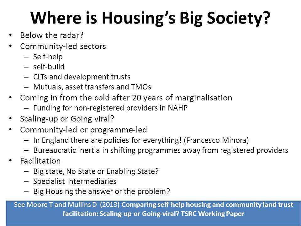 Where is Housing's Big Society. Below the radar.