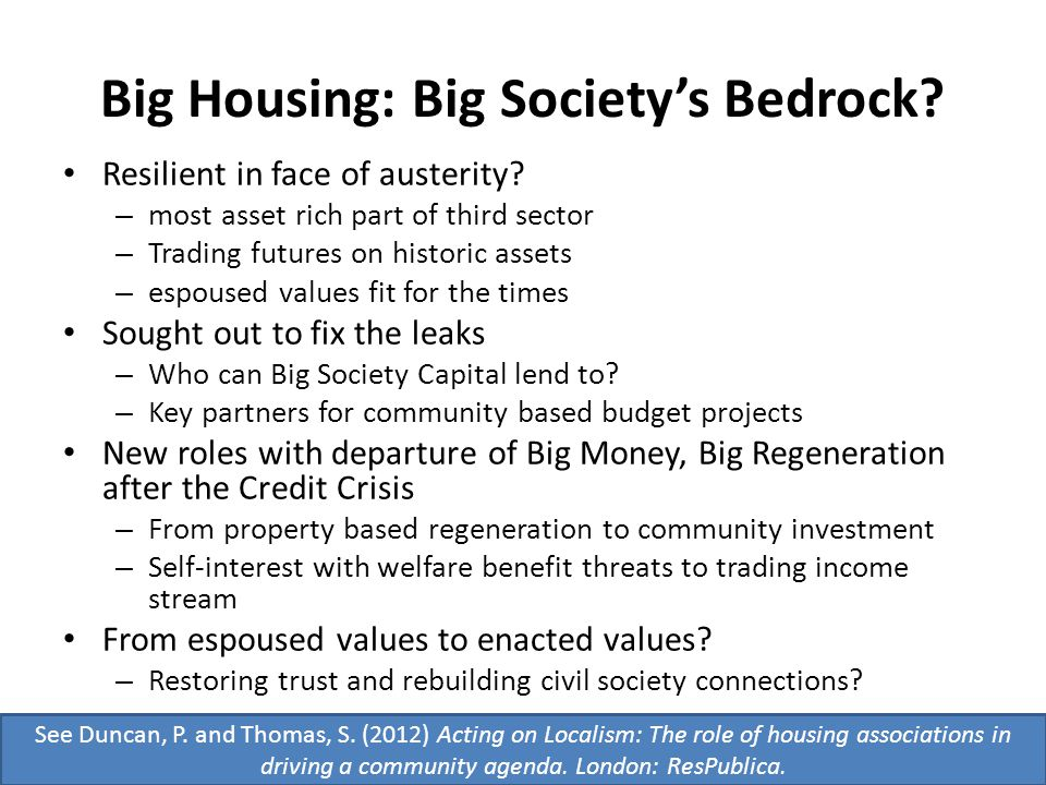 Big Housing: Big Society's Bedrock. Resilient in face of austerity.