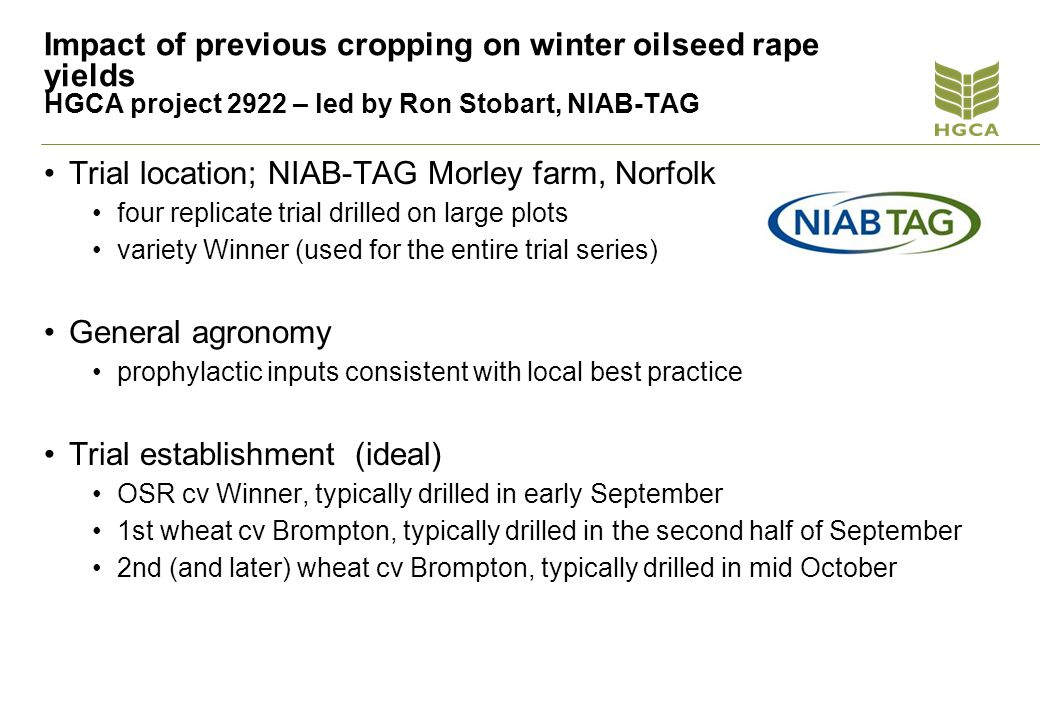 HGCA Light leaf spot fungicides and yield, N Yorks 2011 Treated yield 4.97 v untreated 4.39 P<0.001