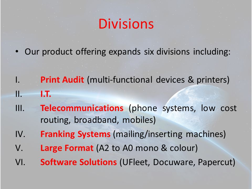 Company Overview The next couple of slides highlight the quality of our manufacturer and supplier relationships, pivotal in our success in building repeat business with our clients....