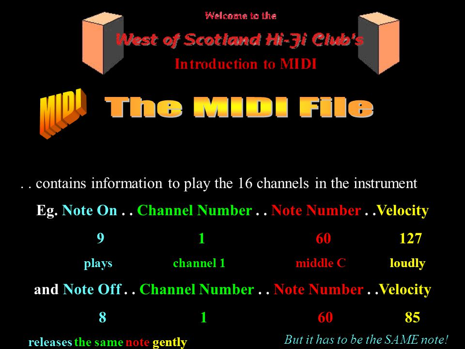 .. contains information to play the 16 channels in the instrument Eg.