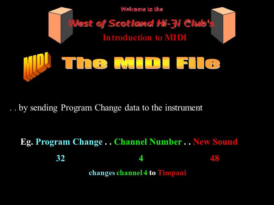 .. by sending Program Change data to the instrument Eg.