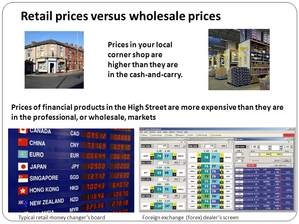 Retail prices versus wholesale prices Foreign exchange (forex) dealer's screenTypical retail money changer's board Prices of financial products in the High Street are more expensive than they are in the professional, or wholesale, markets Prices in your local corner shop are higher than they are in the cash-and-carry.
