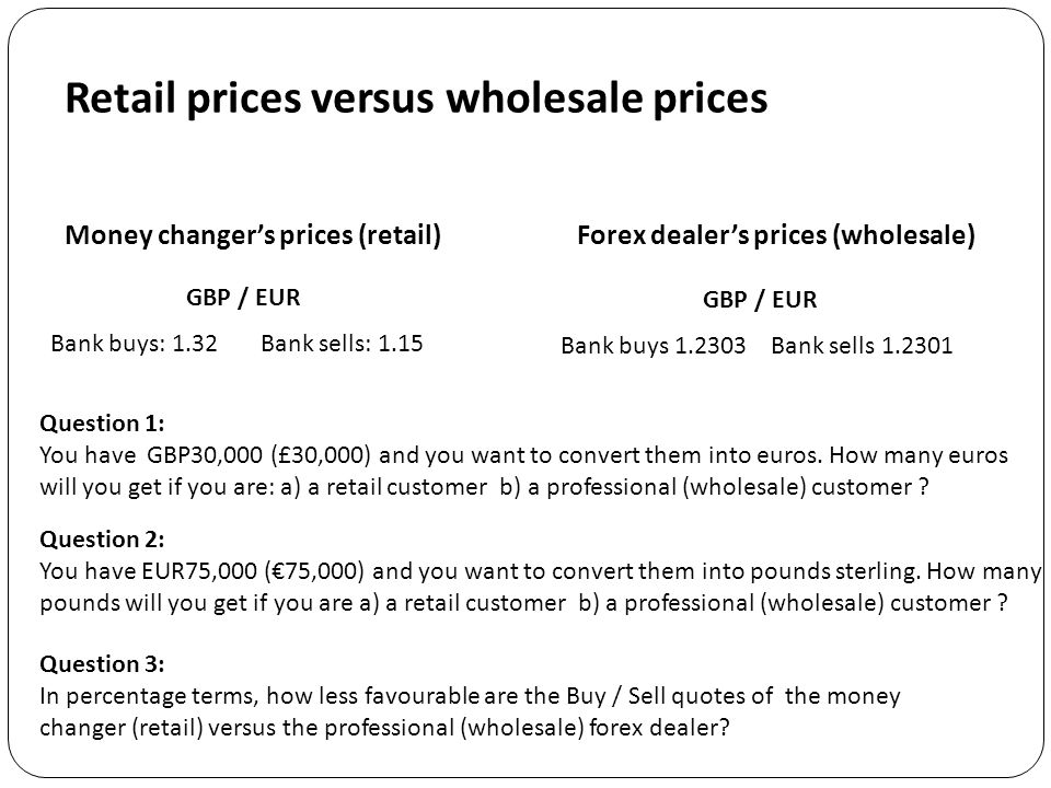 Retail prices versus wholesale prices Forex dealer's prices (wholesale) GBP / EUR Bank buys 1.2303Bank sells 1.2301 Question 1: You have GBP30,000 (£30,000) and you want to convert them into euros.