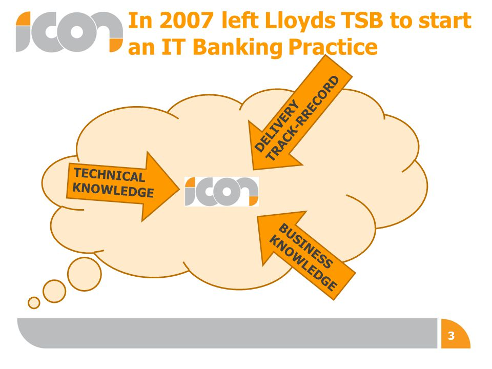 In 2007 left Lloyds TSB to start an IT Banking Practice TECHNICAL KNOWLEDGE BUSINESS KNOWLEDGE DELIVERY TRACK-RRECORD 3