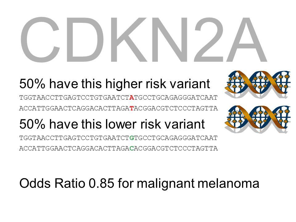50% have this higher risk variant TGGTAACCTTGAGTCCTGTGAATCTATGCCTGCAGAGGGATCAAT ACCATTGGAACTCAGGACACTTAGATACGGACGTCTCCCTAGTTA 50% have this lower risk