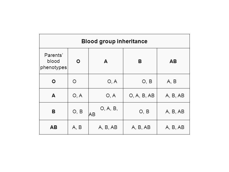 Blood group inheritance Parents' blood phenotypes OABAB O O O, A O, B A, B A O, A O, A, B, AB A, B, AB B O, B O, A, B, AB O, B A, B, AB AB A, B A, B,