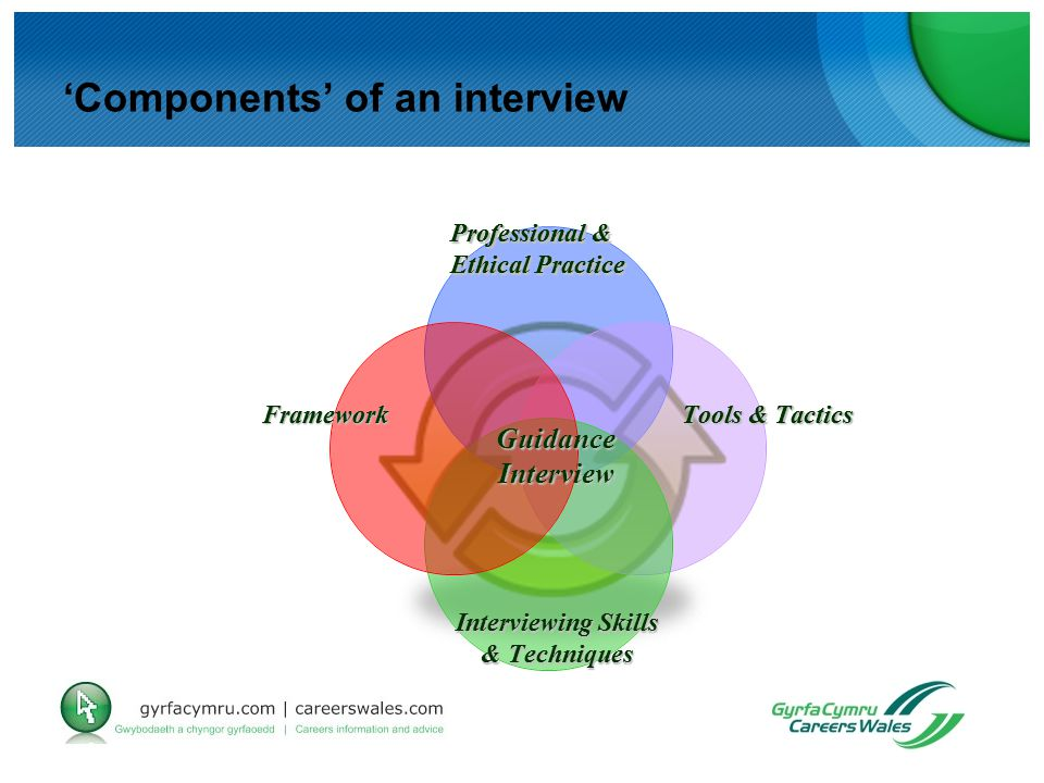 Guidance Interview Professional & Ethical Practice Framework Tools & Tactics Interviewing Skills & Techniques 'Components' of an interview