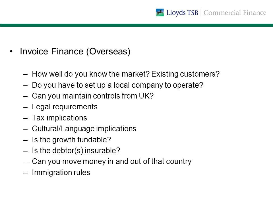 Invoice Finance (Overseas) –How well do you know the market.