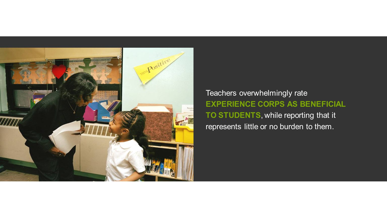 Teachers overwhelmingly rate EXPERIENCE CORPS AS BENEFICIAL TO STUDENTS, while reporting that it represents little or no burden to them.