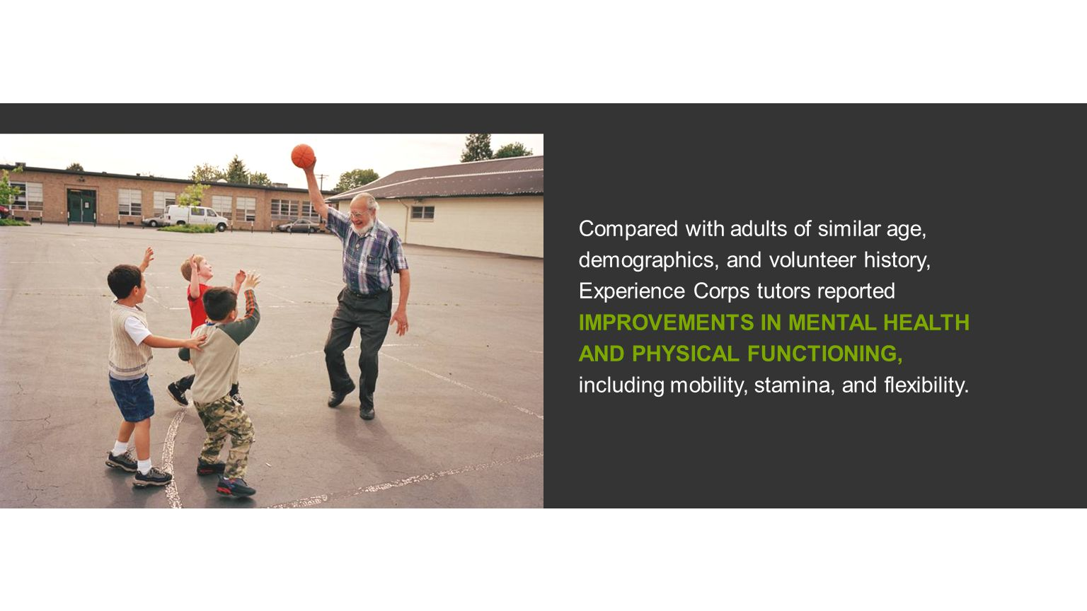 Compared with adults of similar age, demographics, and volunteer history, Experience Corps tutors reported IMPROVEMENTS IN MENTAL HEALTH AND PHYSICAL FUNCTIONING, including mobility, stamina, and flexibility.