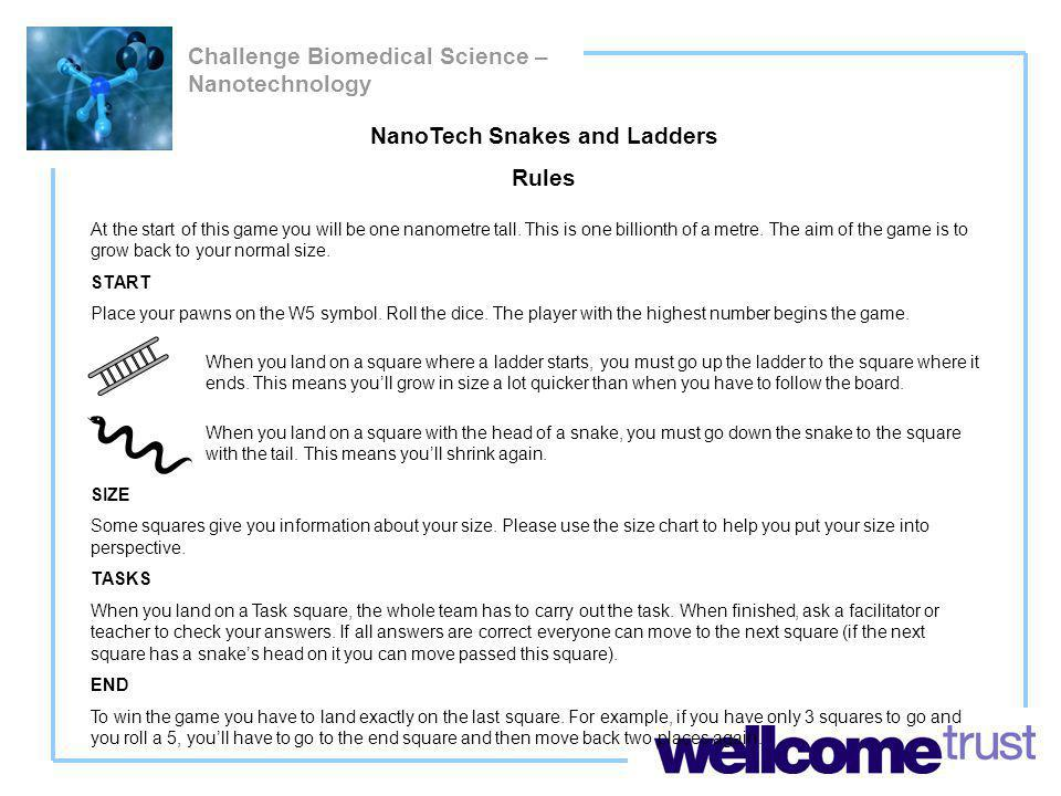 Challenge Biomedical Science – Nanotechnology NanoTech Snakes and Ladders Rules At the start of this game you will be one nanometre tall.