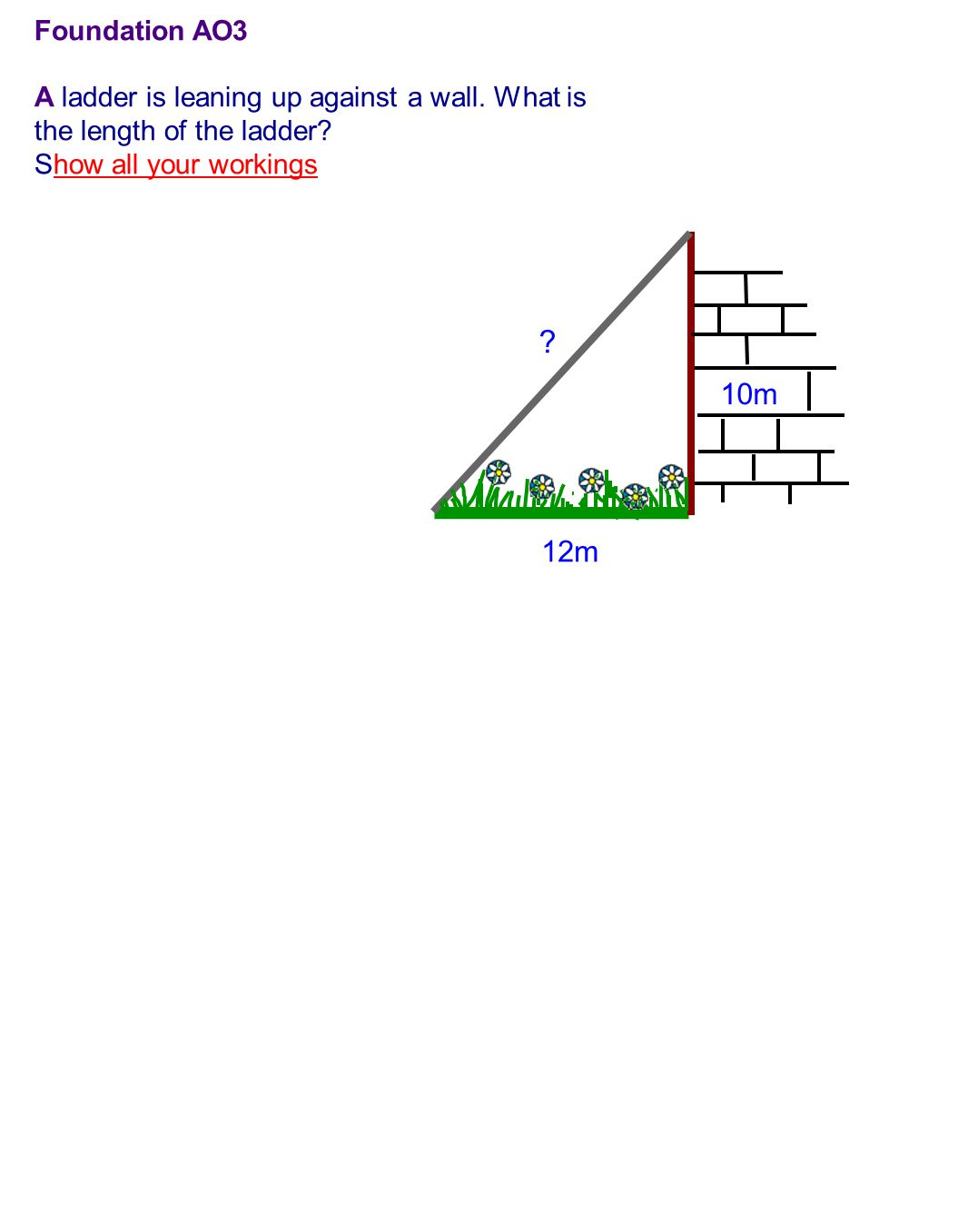 10m 12m . Foundation AO3 A ladder is leaning up against a wall.