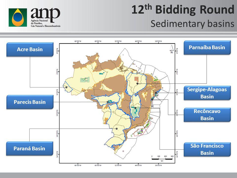 São Francisco Basin Parnaíba Basin Acre Basin Paraná Basin Recôncavo Basin Sergipe-Alagoas Basin 12 th Bidding Round Sedimentary basins Parecis Basin