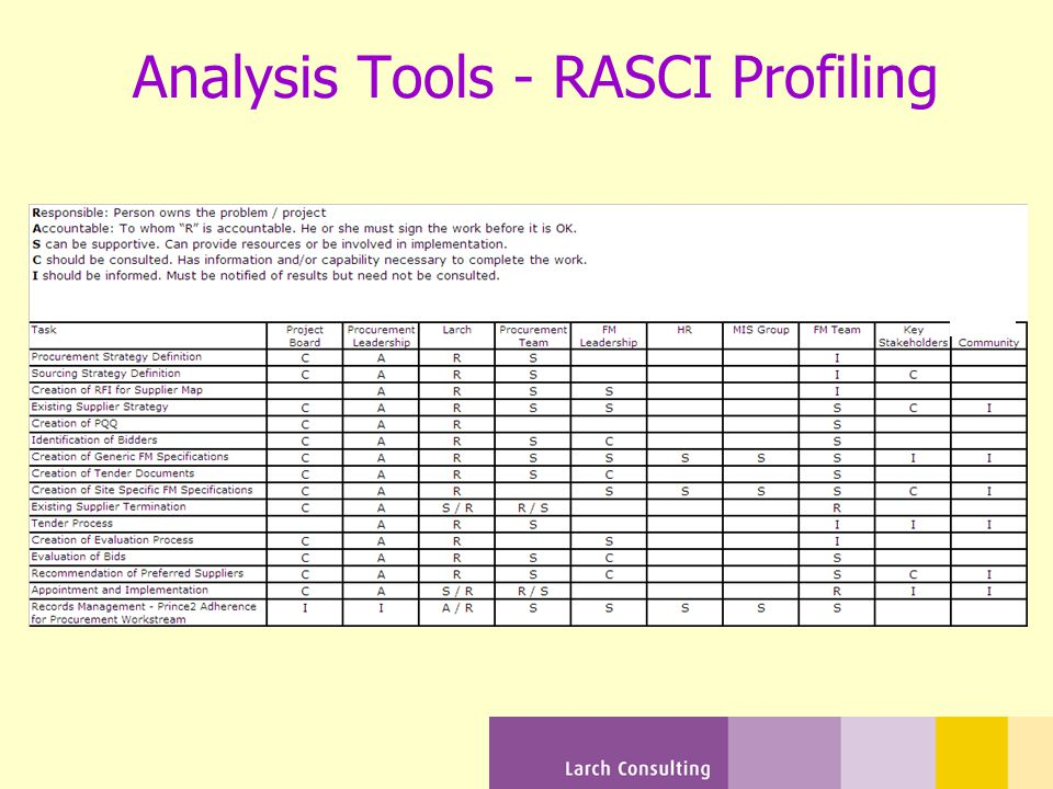 Analysis Tools - RASCI Profiling