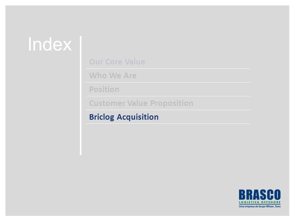 Index Our Core Value Who We Are Position Customer Value Proposition Briclog Acquisition