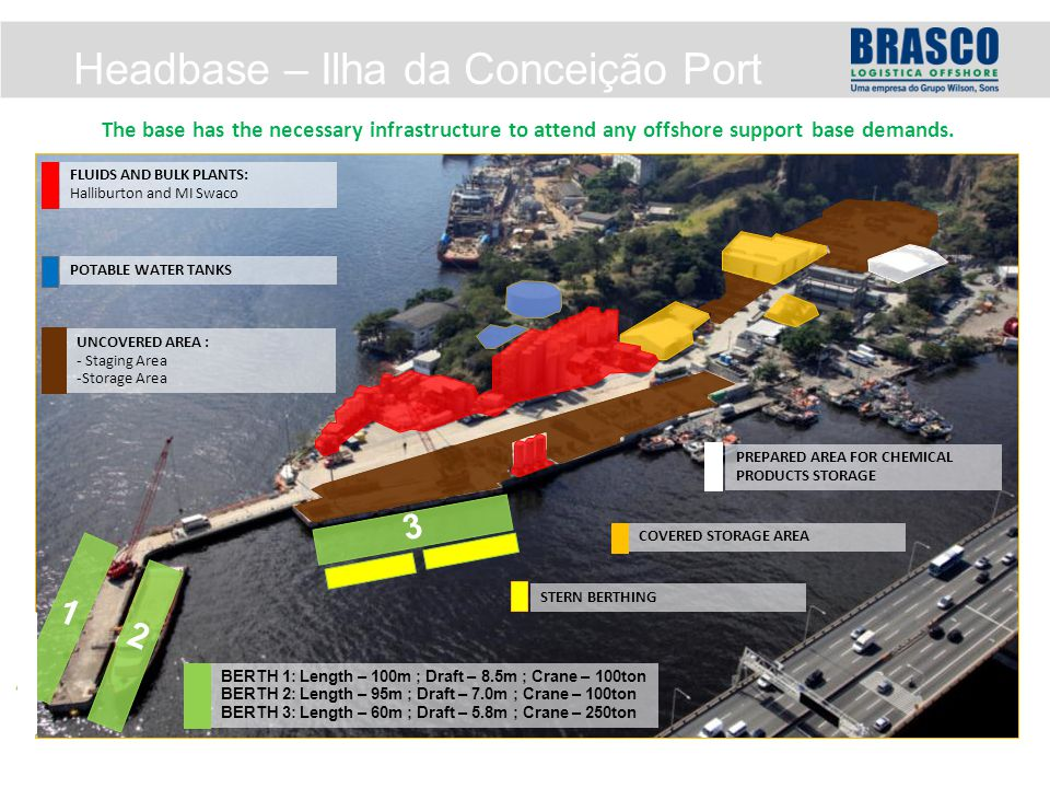 Headbase – Ilha da Conceição Port The base has the necessary infrastructure to attend any offshore support base demands.