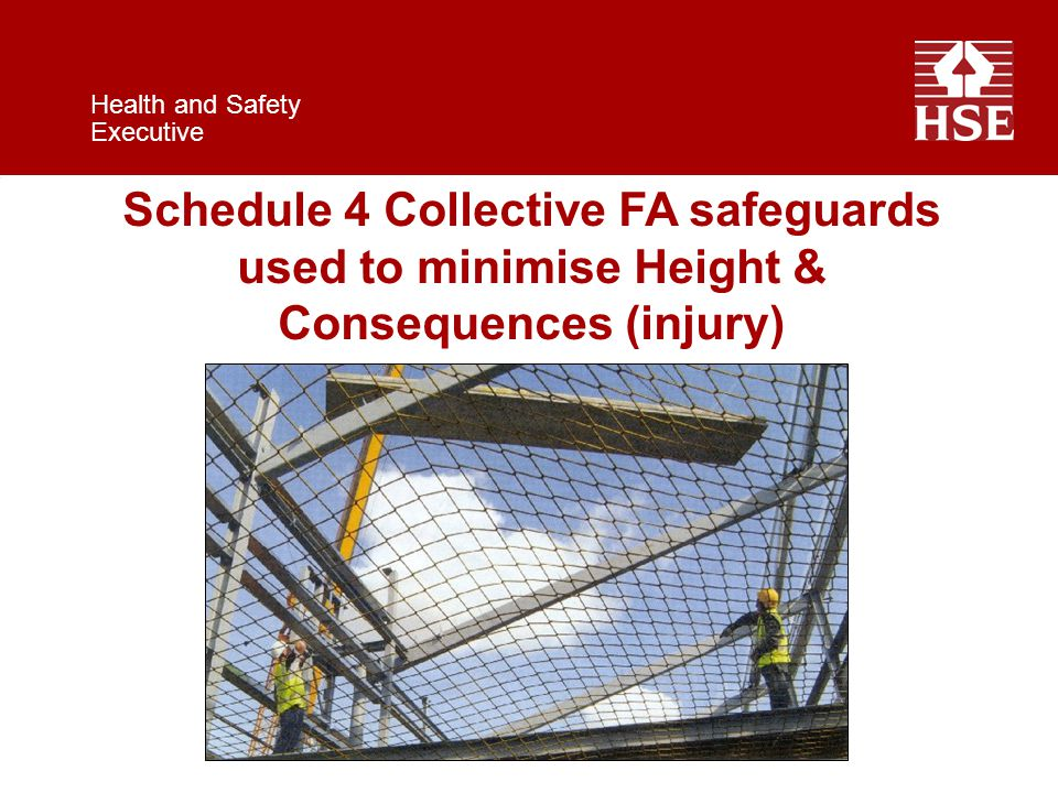 Health and Safety Executive Schedule 4 Collective FA safeguards used to minimise Height & Consequences (injury)