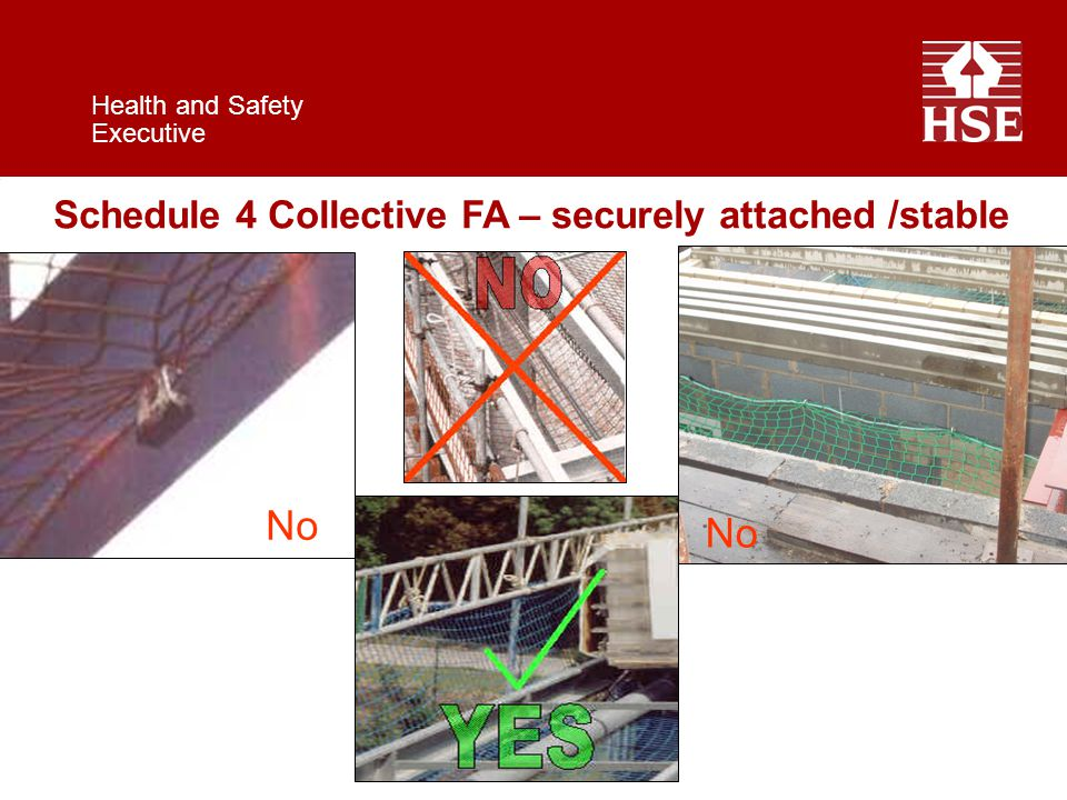 Health and Safety Executive Schedule 4 Collective FA – securely attached /stable No