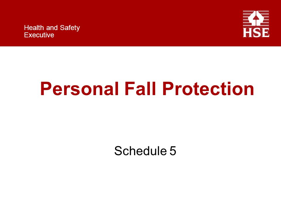 Health and Safety Executive Personal Fall Protection Schedule 5