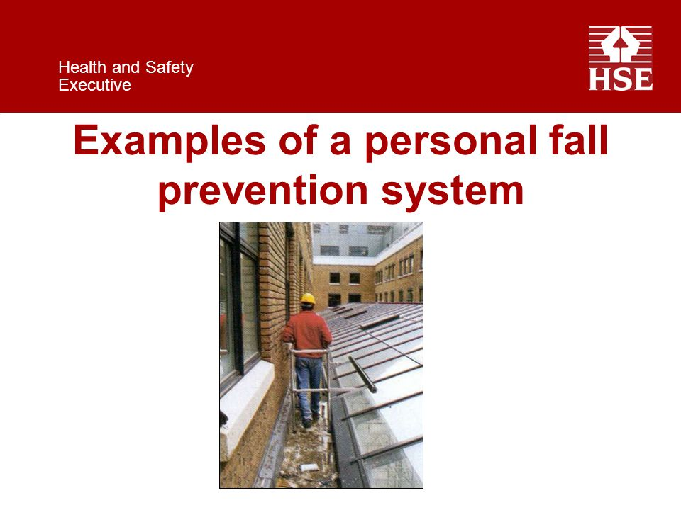 Health and Safety Executive Examples of a personal fall prevention system