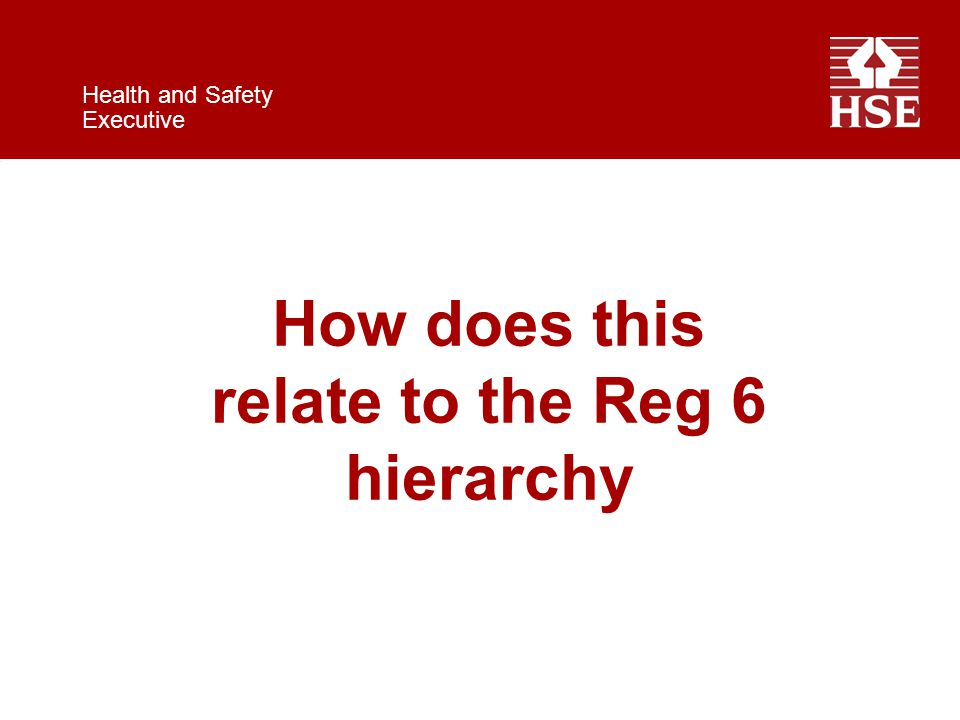 Health and Safety Executive How does this relate to the Reg 6 hierarchy