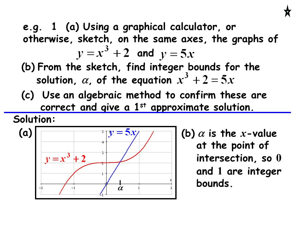 e.g. 1 (a) Using a graphical calculator, or otherwise, sketch, on the same axes, the graphs of and (b) From the sketch, find integer bounds for the so