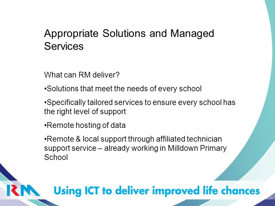 Consultancy > Investigation > Options > New Solution Support Existing kit Shared Area Embedded ICT Impact ICT Your current solution