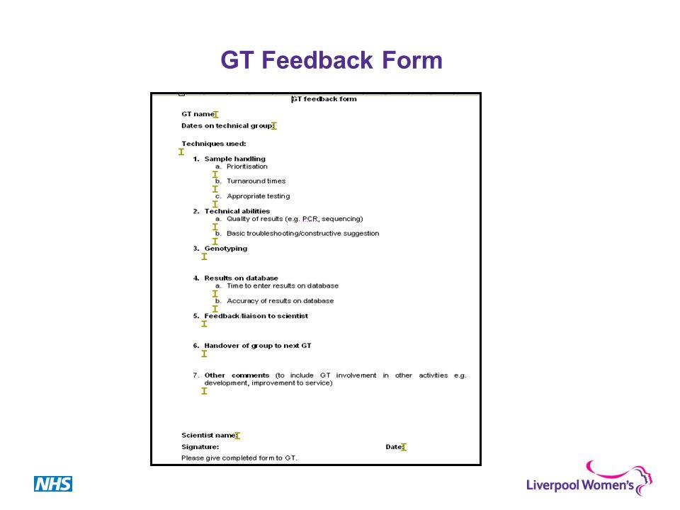 GT Feedback Form