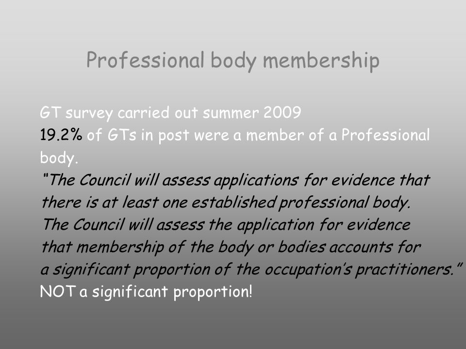 Professional body membership GT survey carried out summer 2009 19.2% of GTs in post were a member of a Professional body.