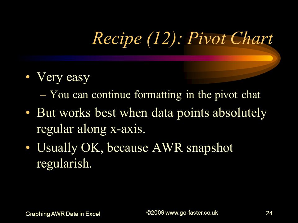 Graphing AWR Data in Excel ©2009 www.go-faster.co.uk 24 Recipe (12): Pivot Chart Very easy –You can continue formatting in the pivot chat But works best when data points absolutely regular along x-axis.