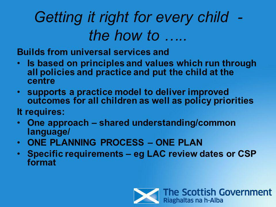 Getting it right for every child - the how to …..