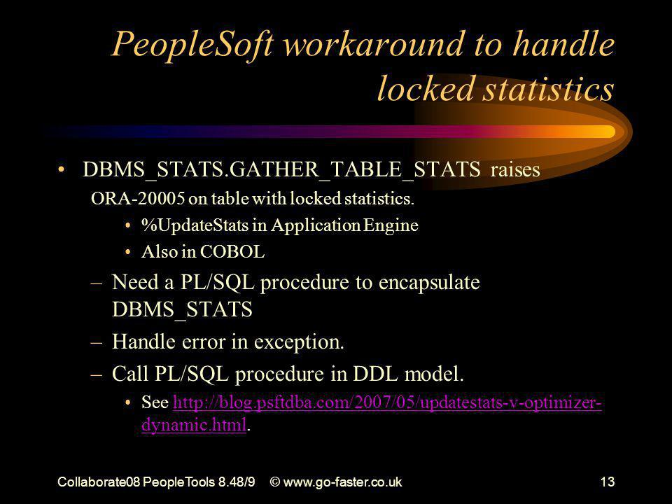 Collaborate08 PeopleTools 8.48/9© www.go-faster.co.uk13 PeopleSoft workaround to handle locked statistics DBMS_STATS.GATHER_TABLE_STATS raises ORA-20005 on table with locked statistics.