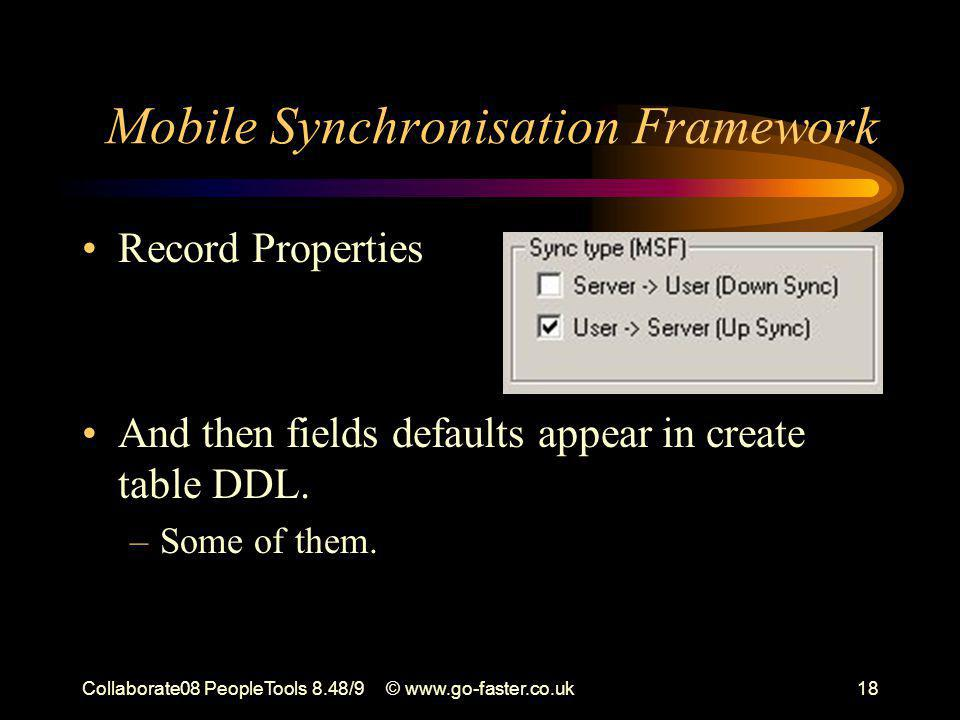 Collaborate08 PeopleTools 8.48/9© www.go-faster.co.uk18 Record Properties And then fields defaults appear in create table DDL. –Some of them. Mobile S