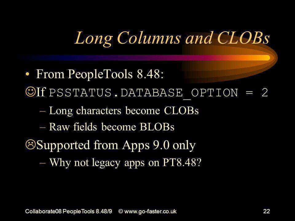 Collaborate08 PeopleTools 8.48/9© www.go-faster.co.uk22 Long Columns and CLOBs From PeopleTools 8.48: If PSSTATUS.DATABASE_OPTION = 2 –Long characters become CLOBs –Raw fields become BLOBs  Supported from Apps 9.0 only –Why not legacy apps on PT8.48