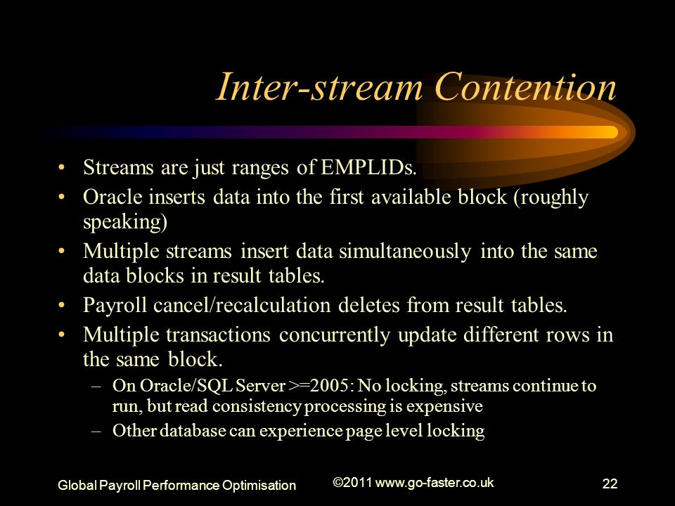 Global Payroll Performance Optimisation ©2011 www.go-faster.co.uk 22 Inter-stream Contention Streams are just ranges of EMPLIDs.