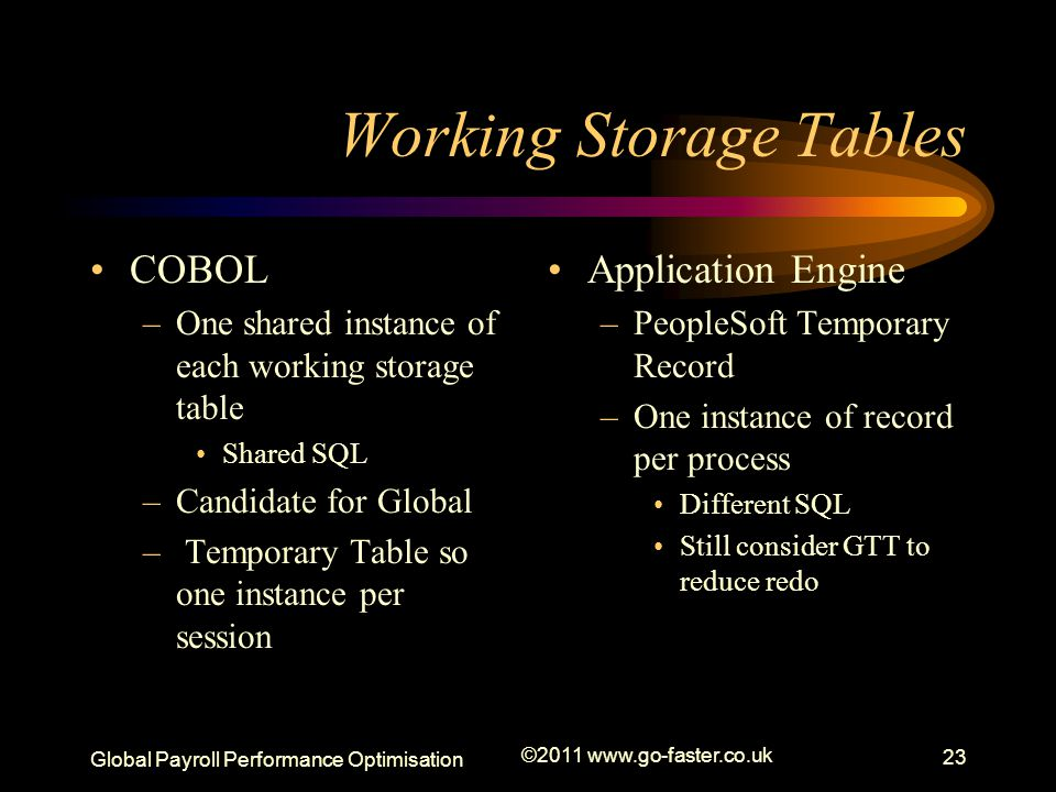 Global Payroll Performance Optimisation ©2011 www.go-faster.co.uk 23 Working Storage Tables COBOL –One shared instance of each working storage table Shared SQL –Candidate for Global – Temporary Table so one instance per session Application Engine –PeopleSoft Temporary Record –One instance of record per process Different SQL Still consider GTT to reduce redo
