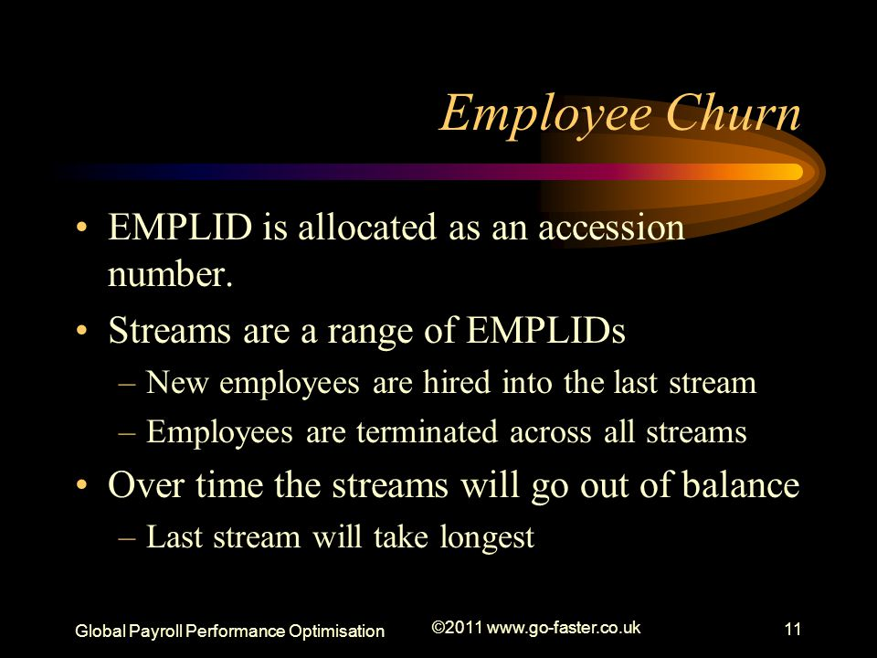 Global Payroll Performance Optimisation ©2011 www.go-faster.co.uk 11 Employee Churn EMPLID is allocated as an accession number.