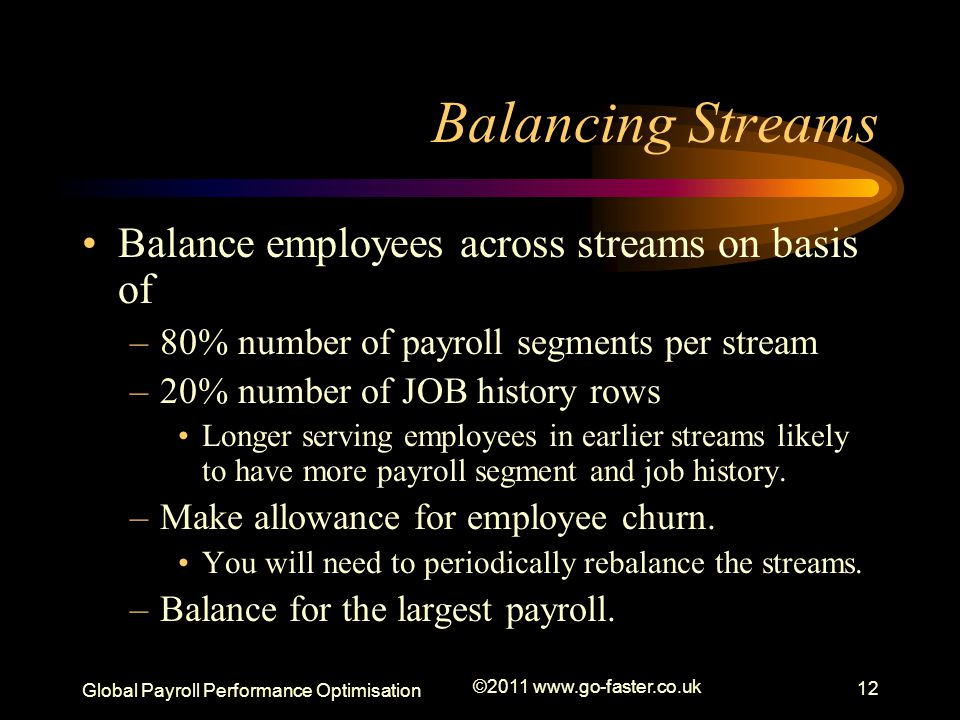 Global Payroll Performance Optimisation ©2011 www.go-faster.co.uk 12 Balancing Streams Balance employees across streams on basis of –80% number of payroll segments per stream –20% number of JOB history rows Longer serving employees in earlier streams likely to have more payroll segment and job history.